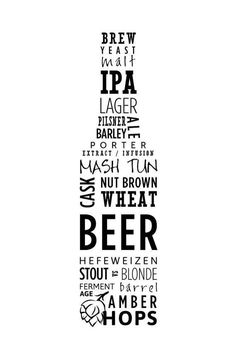 Items similar to Typography Beer Poster on Etsy - This Artist has used Type to create a beer bottle shape, He/She has used different variations of le - Beer Poster, Poster On, Type Posters, Dorm Posters, Beer Quotes, Beer Art, Beer Signs, Home Brewing, Beer Bottle