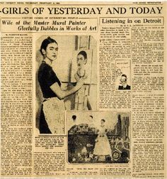 "Frida Kahlo ""gleefully dabbles"" in an article from the Detroit News, February 2, 1933. Quoting Frida from the article: ""Of course, he does pretty well for a little boy, but it is I who am the big artist."""