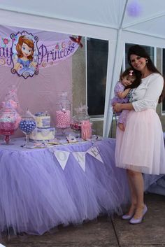 A beautiful Sofia the First birthday party! LOVE that lavender tutu table skirt Princess Sofia Birthday, Sofia The First Birthday Party, Princess Sophia, Girl First Birthday, Third Birthday, Princess Party, Birthday Celebration, Birthday Ideas, Bday Girl