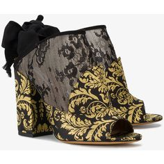 Tabitha Simmons Regina 100 Brocade Mules (717 AUD) ❤ liked on Polyvore featuring shoes, tabitha simmons, black and gold shoes, tabitha simmons shoes, mule shoes and black gold shoes