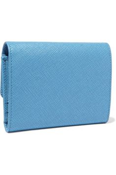 Prada - Textured-leather Wallet - Light blue - one size