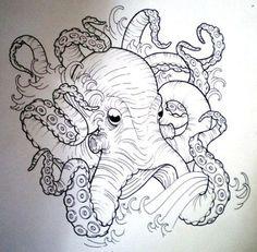 Dibujo boceto de pulpo negro