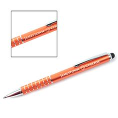Custom Personalized Engraved Orange Anodized Twirl Touch Pen with Stylus Tip, birthday, special occasion, Christmas gift, Item #34178