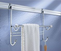 AmazonSmile : mDesign Bathroom Over Shower Door Towel Bar Rack with Hooks - White/Chrome : Office Products
