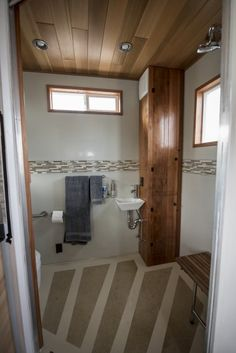 There's alsoa 35-square-foot bathroom with a shower ...