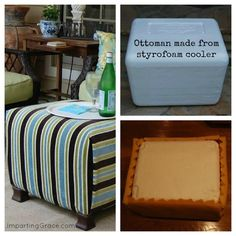DIY: Make an ottoman from a styrofoam cooler. I know where to get large styrofoam thingers for free! Diy Projects To Try, Home Projects, Home Crafts, Diy Home Decor, Diy Crafts, Do It Yourself Furniture, Do It Yourself Home, Furniture Projects, Diy Furniture