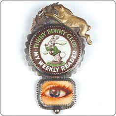 Funny Bunny Club (vintage bottle cap, hologram eye, sterling silver, bronze, copper, tin) Roberta and David Williamson