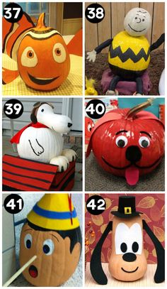 Decorating Pumpkins like Characters A huge collection of the BEST creative pumpkin decorating ideas for Halloween! Including 60 creative pumpkin carving ideas AND 90 no-carve pumpkin ideas. Holidays Halloween, Halloween Crafts, Holiday Crafts, Holiday Fun, Halloween Decorations, Halloween Labels, Spooky Halloween, Halloween Stuff, Halloween Makeup