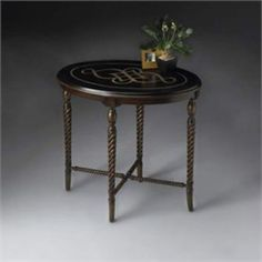 Butler Furniture Oval Accent Table with Fossil Stone Top - Butler Furniture - BT-2339070 Tables $379