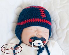 NEW ENGLAND PATRIOTS Pacifier & Football Hat Baby Boys Navy Blue and Red Size Size Newborn, 0-3 and 3 Months on Etsy, $30.00
