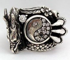 Dragon Ring, Yin Yang sterling silver dragon rings – Bikerringshop