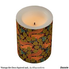 Vintage Art Deco Squirrel and Leaves Design Flameless Candle
