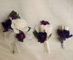 Silk Wedding Flowers Purple Corsage Boutonniere Parents Flowers 2 piece Ivory Bridal party accessories, grooms boutonniere artificial floral. $31.95, via Etsy.