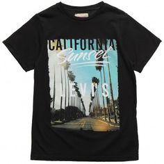 Teen Boys Black Cotton Jersey T-Shirt