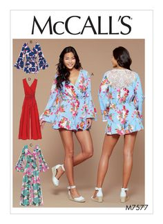 McCall's romper and jumpsuit sewing pattern. M7577 Misses' Cross-Bodice Romper, Jumpsuit, and Belt