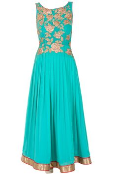 Sky blue embroidered anarkali with contrast dupatta available only at Pernia's Pop-Up Shop.