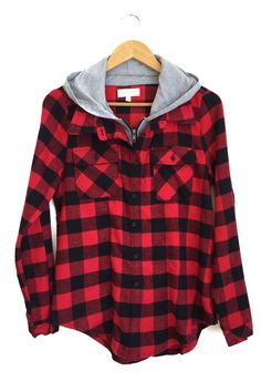 red and black hooded plaid