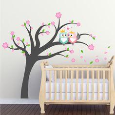 Owls in love tree wall sticker - Art-8.eu Nursery Wall Stickers, Tree Wall, Nursery Ideas, Owls, Posters, Home Decor, Self, Decoration Home, Room Decor