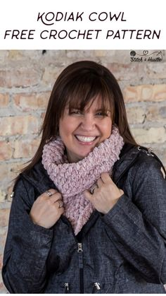 The Kodiak Cowl is so cozy and soft! It works up generously and just one ball makes this soft and cozy cowl. Typically, the Puff Stitch is a yarn eater - but in this case I knew it was a perfect match. Crochet Cowl Free Pattern, All Free Crochet, Easy Crochet Patterns, Scarf Patterns, Crochet Scarves, Crochet Yarn, Irish Crochet, Crochet Stitch, Single Crochet