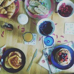 A birthday breakfast spread
