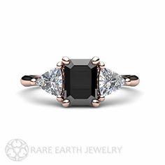 Black Diamond Engagement Ring 3 Stone Vintage Black by RareEarth $2400