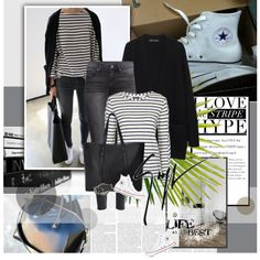 Converse and Stripes by rainie-minnie on Polyvore featuring мода, Proenza Schouler, Topshop, H&M, Converse, Forever 21, The Horse, Giuseppe Zanotti, women's clothing and women's fashion