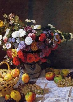 Artist: Claude Monet French Impressionist Master, 1840 – 1926 Title: Flowers and Fruit Completion Date: 1869 Style: Impressionism Oil on canvas Genre: still life , from Iryna