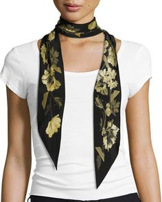 Floral+Super+Skinny+Silk+Scarf,+Gold/Black+by+Rockins+at+Neiman+Marcus.