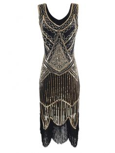 Gold 1920s Sequins Sleeveless Style Dresses