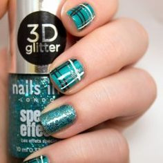 Green plaid nails. Green, black, white, simple, and nice. Nail design.  http://juliedoeshernails.blogspot.com/2014/12/teal-plaid-nail-art.html