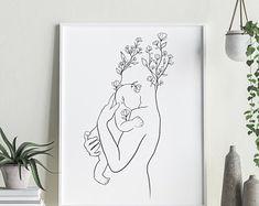 Boho Nursery, Nursery Wall Art, Art Wall Kids, Art For Kids, Baby Wall Art, Breastfeeding Art, Outline Art, Mother And Child, Mother Art
