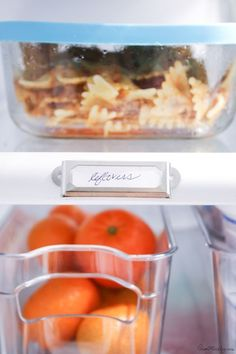 kitchen organization - have a specific spot of leftoveres so they don't go to waste