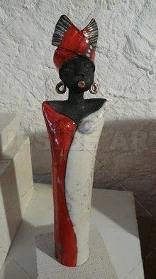Sculpture personnage sur céramique : Upside Art, Malienne Rouge par Sandrine Sueres ( Sculpture céramique )
