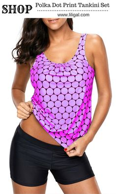 e748a51e77 Printed Round Neck Tankini Top and Shorts  liligal  swimwear  swimsuit Plus  Size Two