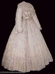 1860s black & white striped dress
