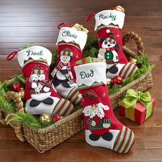 Winter Wonderland Stockings I so want these for our new Family Christmas Stockings! Clause and the Moose for Dean. Family Christmas Stockings, Christmas Tree And Santa, Xmas Stockings, All Things Christmas, Christmas Holidays, Christmas Crafts, Christmas Decorations, Christmas Ornaments, Holiday Decor