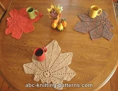 ABC Knitting Patterns - Chestnut Leaf Table Runner and Placemats with diagram and written instructions