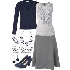 """Navy Blue"" by jamie-burditt on Polyvore:I have Calvin grey dress with exact skirt...cardi over..."