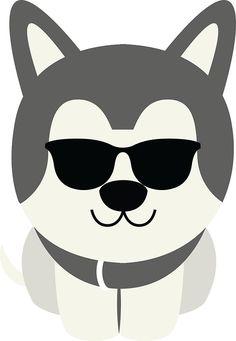 Siberian+Husky+Emoji+Cool+Sunglasses+Look
