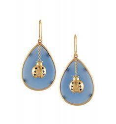 Silver Blue Chalcedony Bug Earrings