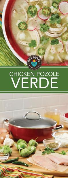 Chicken Pozole Verde. Not to be mistaken with my pozole rojo made with pork, this comforting Mexican soup is made with chicken that is slow simmered in salsa verde made with tomatillos, cilantro, and jalapeños giving this soup a beautiful green hue, and the pumpkin seeds add a nutty flavor and creamy texture.