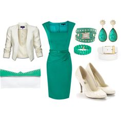 Turquoise & white. I hate being so matchy-matchy but love all the pieces, except the shoes..