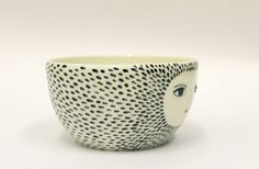 Spotty bowl with sculpted face   cereal bowl by KinskaShop on Etsy