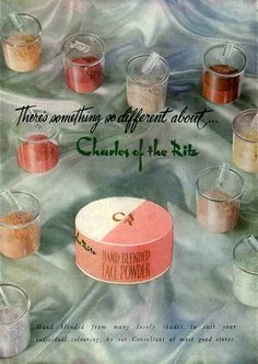 """""""1948 Charles of the Ritz hand blended face powder showing ten of the colours that were used."""""""