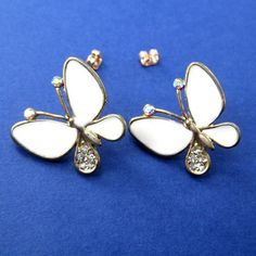 $3.50 SALE - Large Butterfly Rhinestone Stud Post Earrings in White on Gold