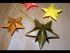 Winter ~ Advent ~ Week One: The Light of Crystal & Stone ~ Origami Stars ~ instructional video Origami Diy, Origami Simple, Origami Paper Folding, Origami And Quilling, Origami And Kirigami, Christmas Origami, Useful Origami, Oragami, Origami Instructions
