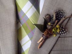 Woodland Boutonniere for the groom at your wedding by glowinggirl, $14.00