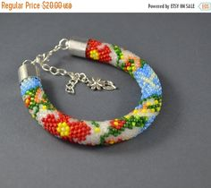 CHRISTMAS SALE Beaded bracelet rope summer flower by SzkatulkaAmi