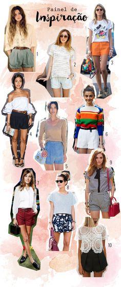 Painel de inspiração com looks usando shorts de alfaiataria. Como usar shorts de alfaiataria. Blog de moda  #blogdemoda #shorts