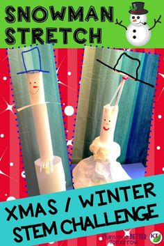 WINTER - CHRISTMAS STEM Challenge: In Snowman Stretch, students build a snowman designed for maximum height or volume. Comes with modifications for grades Steam Activities, Holiday Activities, Science Activities, Activities For Kids, Science Ideas, Mad Science, Science Experiments, Stem Challenges, Engineering Challenges